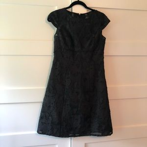 Adrianna Papell black dress w/ lace floral overlay